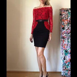 Venus Red Lace Cocktail Dress